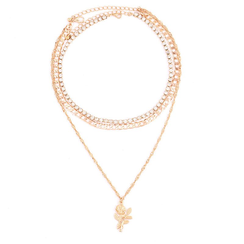 Bohemian Multi Layer Rose Pendant Chain Crystal Clavicle Necklace Women's Fine Golden Necklace Valentine's D Gift