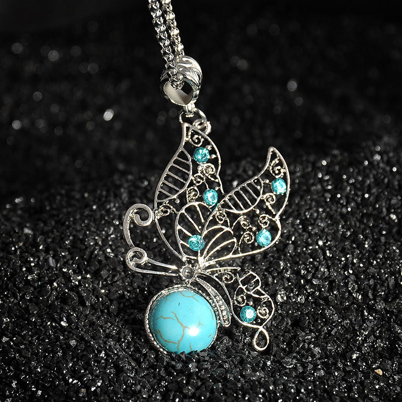 Bohemian Vintage Crystal Butterfly/Flower/Hollow Tree/Heart Shape Pendant Silver Chain Necklace Fashion Women Jewelry