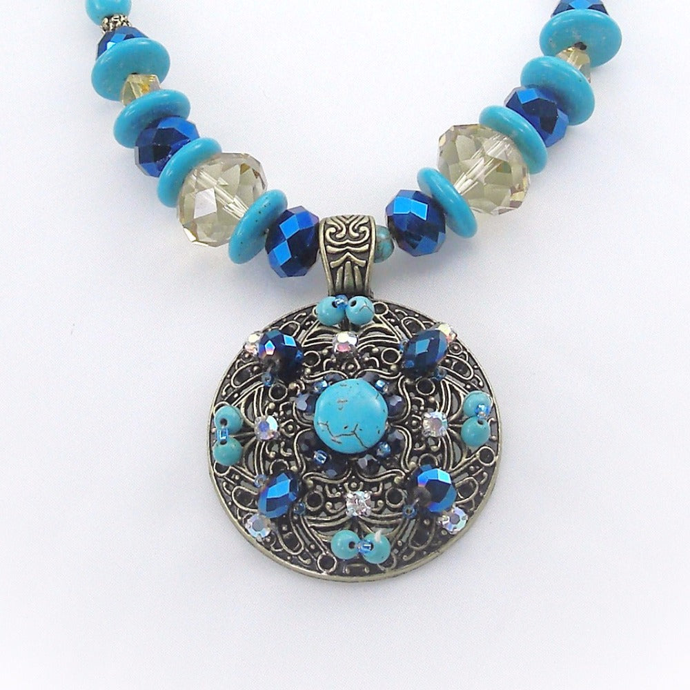 Bohemian style handmade turquoises necklace vintage ornament classic accessories Strand circle Pendant Flower Necklace For Women