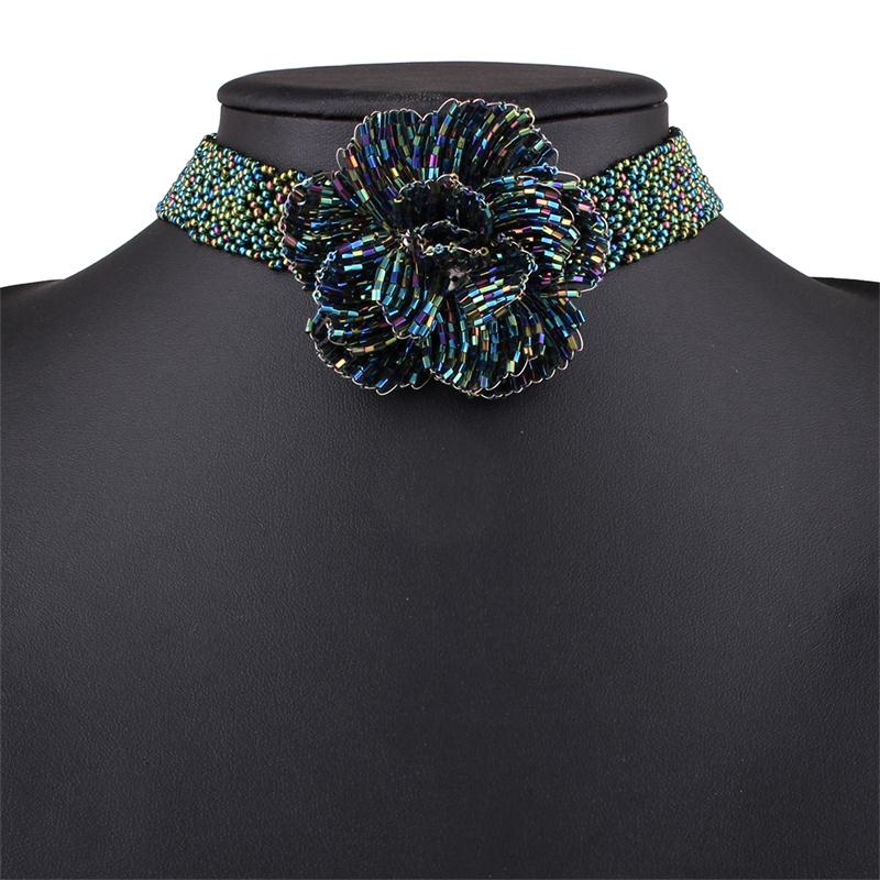 Brand Black Seed Bead Handmade Flower Necklace Cute Simple Blue Ethnic Bohemian Necklaces Women Designer Trendy