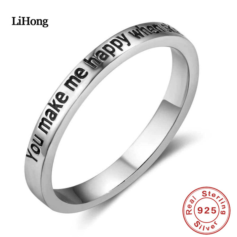 Brand Jewelry 100% 925 Silver Ring LOVE Engagement Ring You Make Me Happy When Skies Are Grey