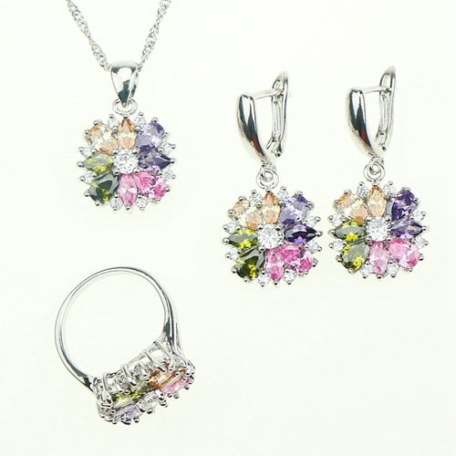 Bride 925 Sterling Silver Jewelry Sets For Women Flower With Multicolor Cubic Zirconia Necklace/Ring/Earrings/Bracelet/Pendant