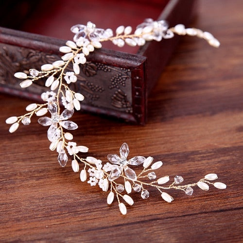 Bride Hair Band Pearl Wedding Jewelry Headband Handmade Bridal Accessories  Rhinestone Flower Bride Tiara Women's Hair Jewelry