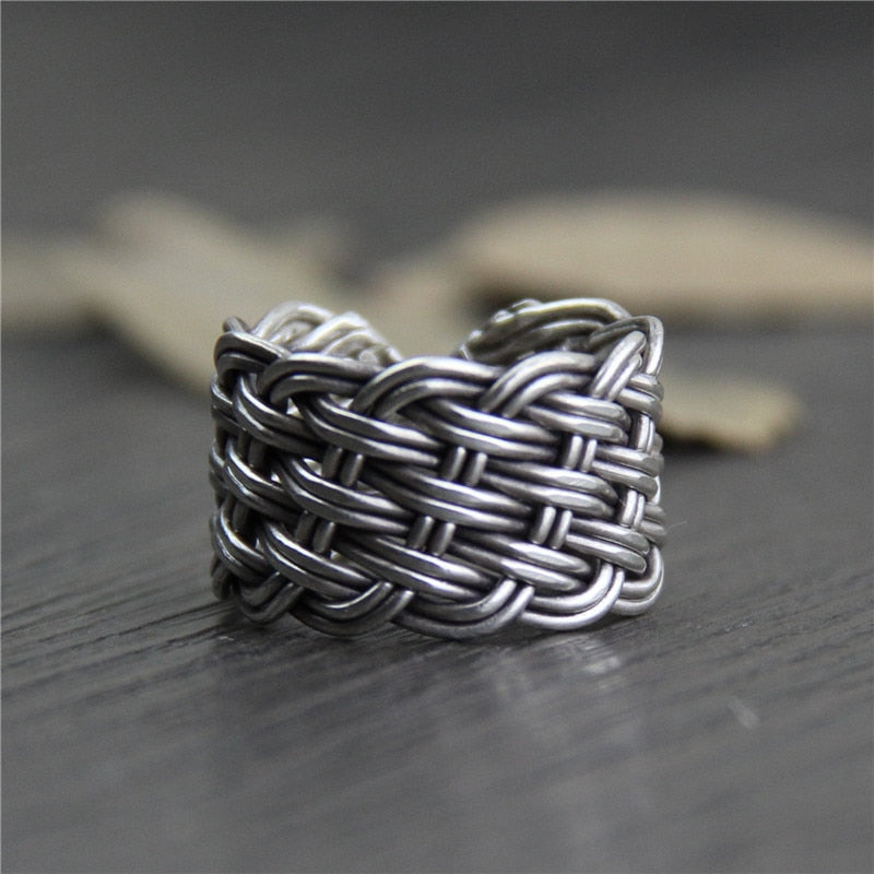 C&R Real S999 Sterling Silver Rings for Women Men Braided Thai Silver Rings Opening Handmade Vintage Ring Fine Jewelry Size 6-13