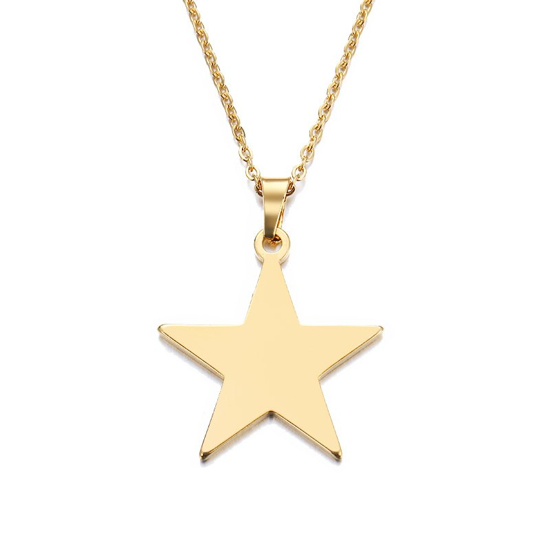 Stainless Steel Necklace For Women Man Lover's Pentagram Gold And Silver Color Pendant Necklace Engagement Jewelry