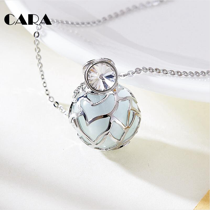 CARA NEW 2020 silver color alloy ladies fashion long chain Rose mesh ball opal stone necklace pendant chain necklace CARA0073