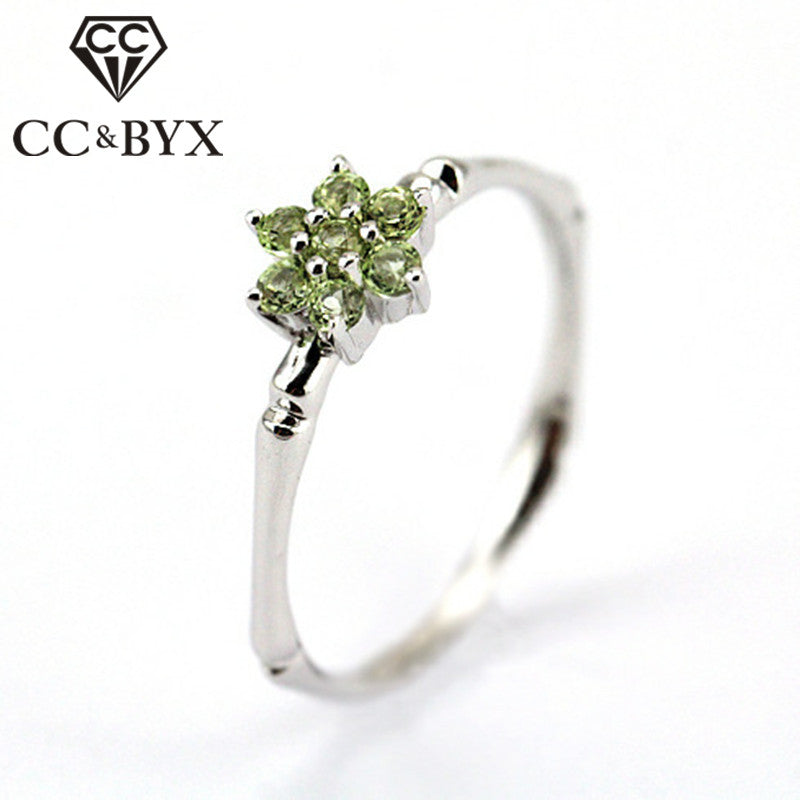 CC S925 Silver Rings For Women Olive Green Stone Bamboo Couple Of Ring Bridal Wedding Jewelry Engagement Ring Anillos CC710