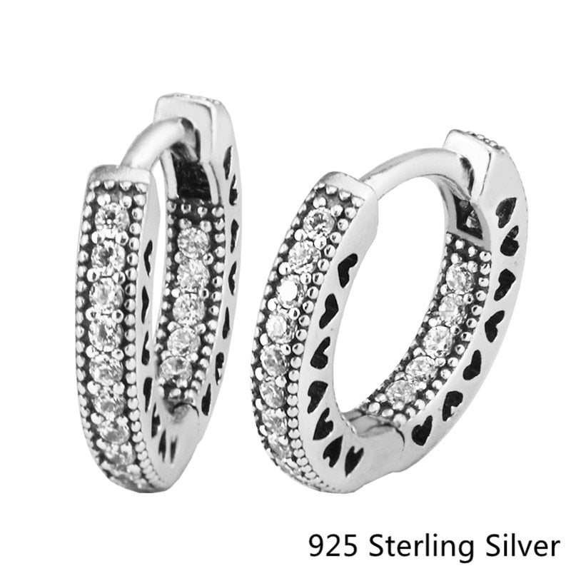925 Sterling Silver Hearts Hoop Earrings For Women Original Fashion Jewelry Making Wedding Gift