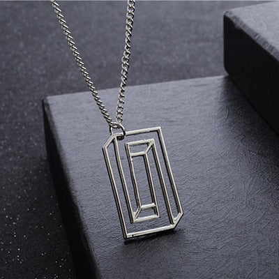 CONFINED SILHOUETTE NECKLACE Chemical Molecule Pendant Necklace Optical Illusion Pieces Designe For Men Women Black Gold Silver