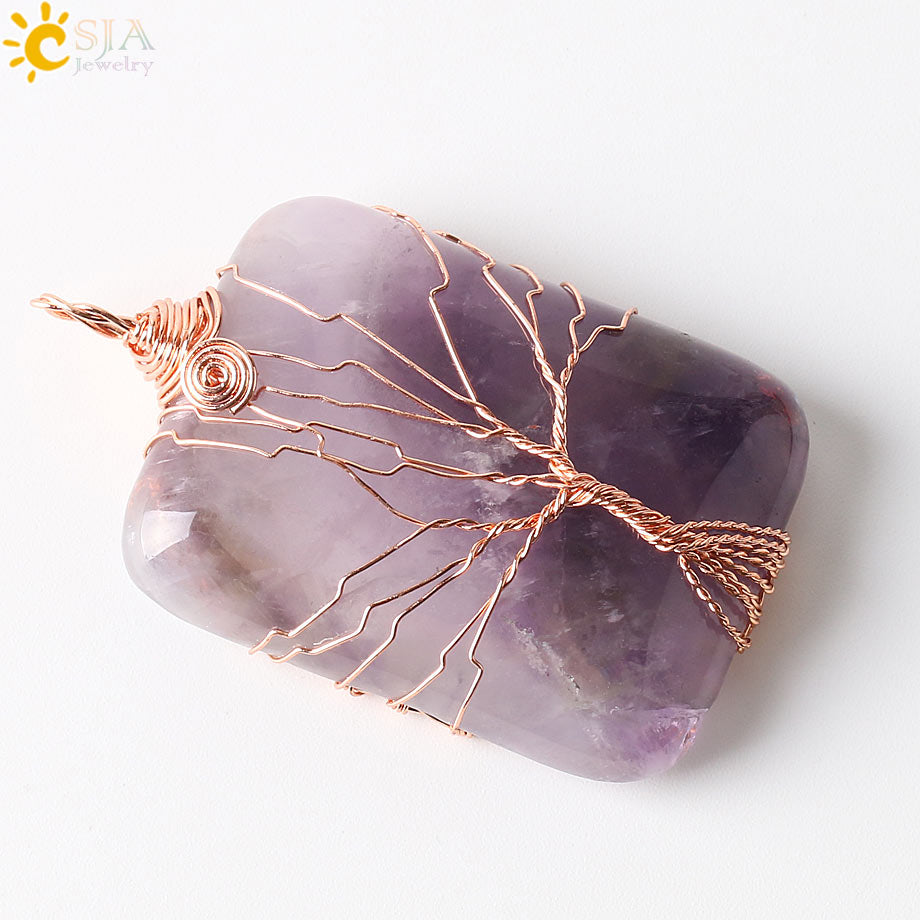 CSJA Handmade Jewellery Online Shopping India Life Tree Lover Reiki Semi Precious Gem Stone Pendants for Necklace Free Rope E224