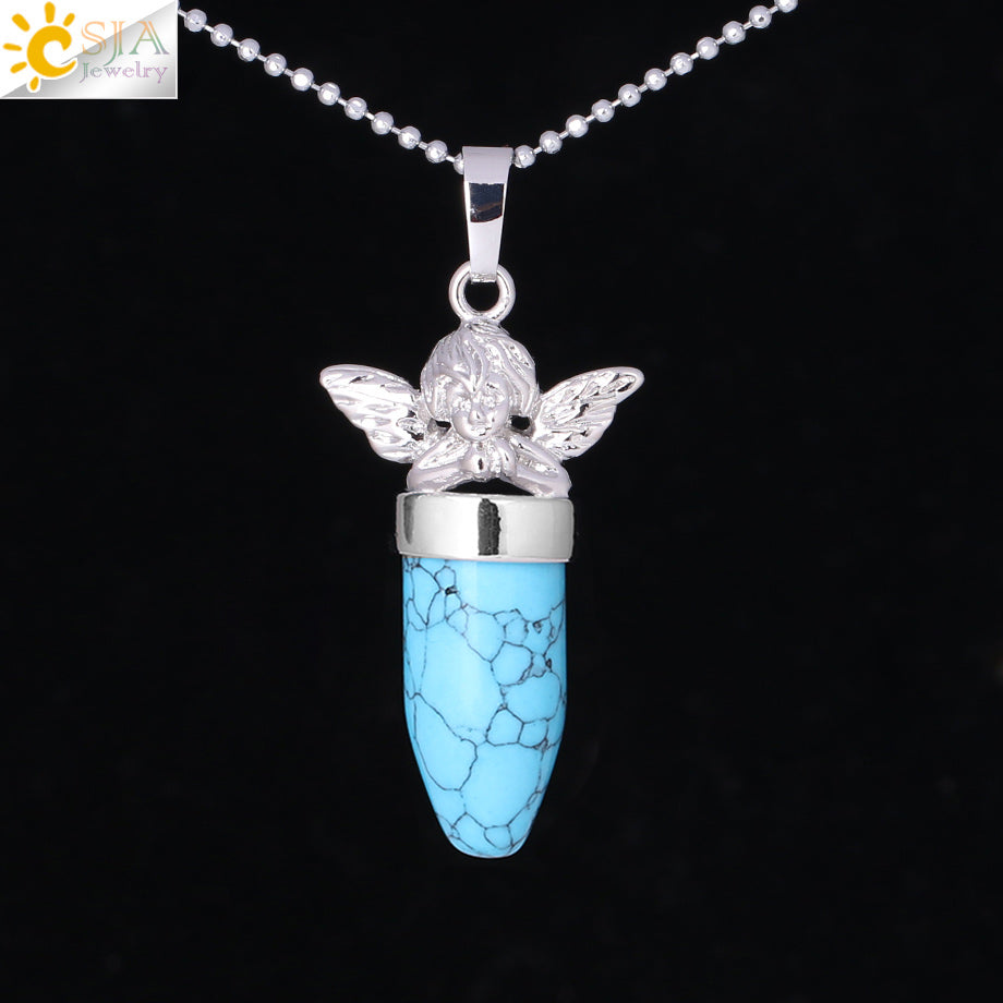 CSJA Little Angel Statement Necklace Free Shipping Women Jewellery Bullet Shape Natural Stone Suspension Pendant Necklaces F361