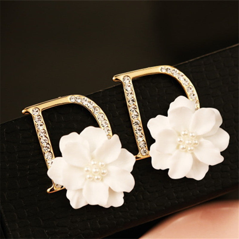 100% Real Picture Earring Real Rose Gold Anti-Allergy Big Size Camellia Flower Earring Female White Flower Earring