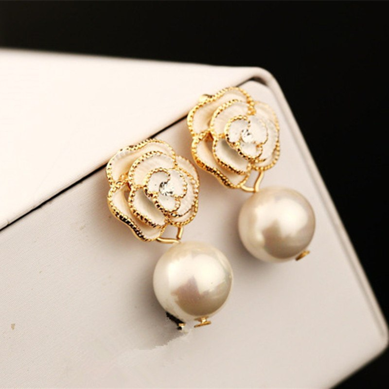 Women Camellia Earring Real Rose Gold Anti-Allergy Pearl Pendant cc Earring Female Party Earring Fine Pearl Jewelry