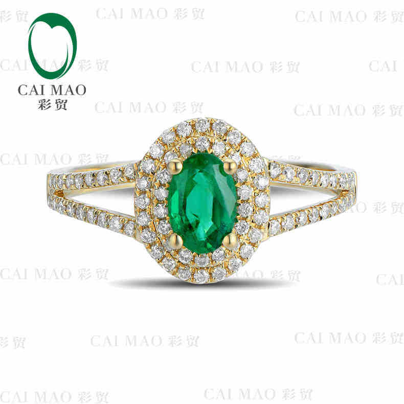 0.41ct Natural Emerald 18KT/750 Yellow Gold 0.35ct Round Cut Diamond Engagement Ring Jewelry Gemstone colombian