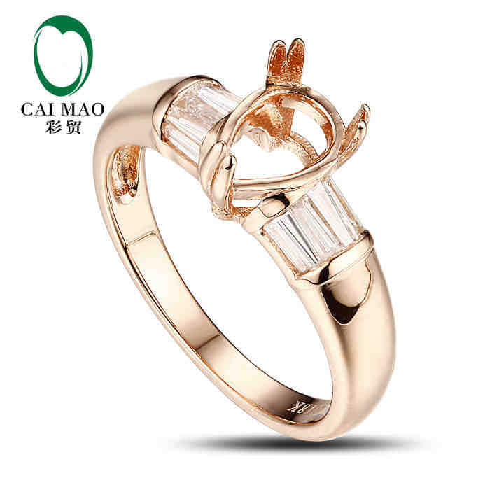 Pear cut Semi Mount Ring Settings & 0.38ct Diamond 18k Rose Gold Gemstone Engagement Ring Fine Jewelry