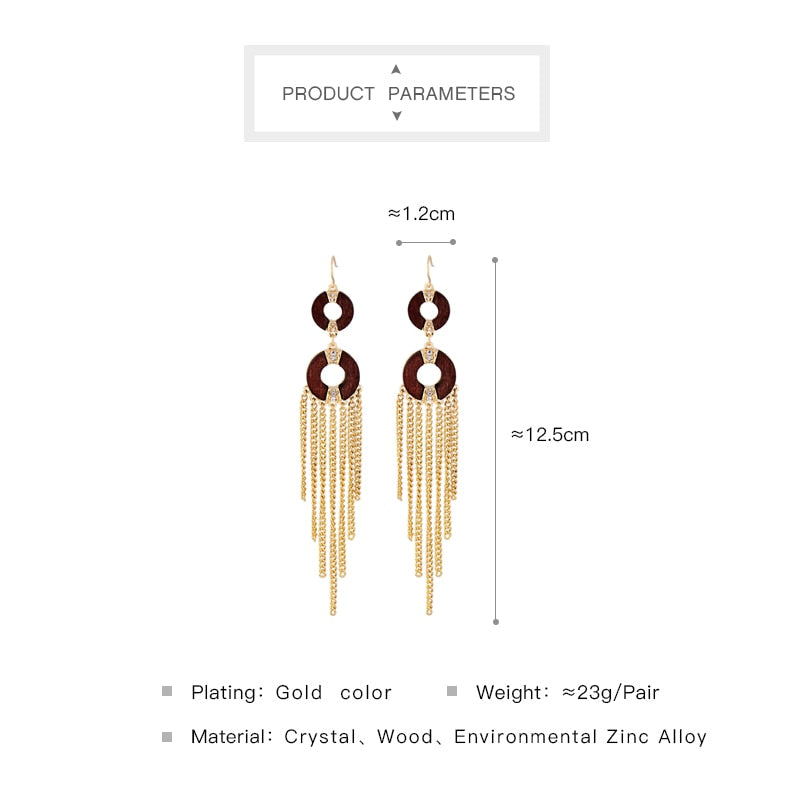 Chain Link Fringe Circle Wood Earrings 2017 Online Shopping India Fashion Long Earrings Women Jewelry Brincos