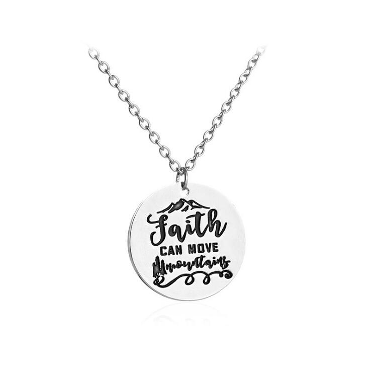 2020 New Charm Necklace For Women Fashion Faith Can Move Mountain Simple Silver Round Pendant Necklace Femme