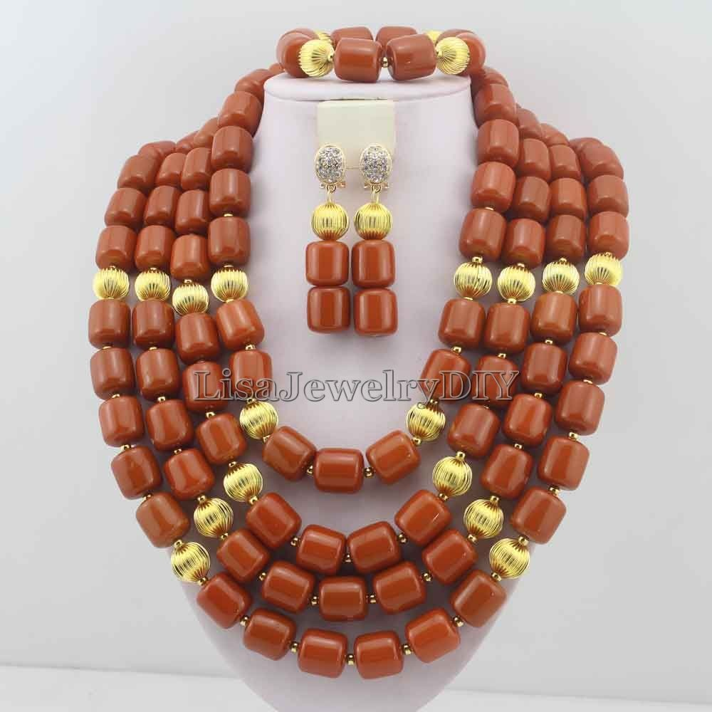 Classic Nigerian Wedding bride jewelry African Coral Beads Jewelry Set Costume Jewelry Sets dubai women necklace set  L1012