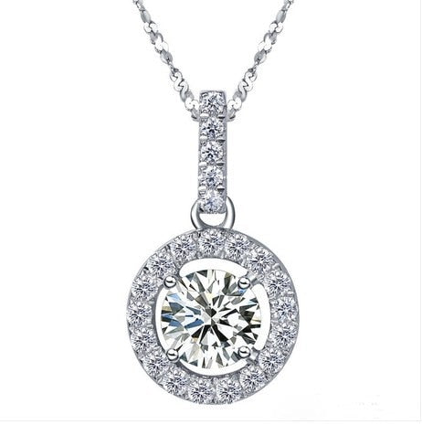 Classic Round Cut Simulate Diamonds Pendants Necklace for Lady A-OK Gift for Girlfriend Sterling 925 Silver Pendants Jewelry