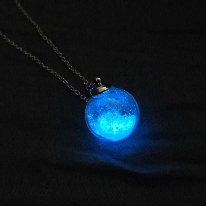 Collier Femme Dry Flower Charm Dandelion Wishing Glass Ball Pendant Necklace Link Chain Glow In The Dark Necklace Best Gifts