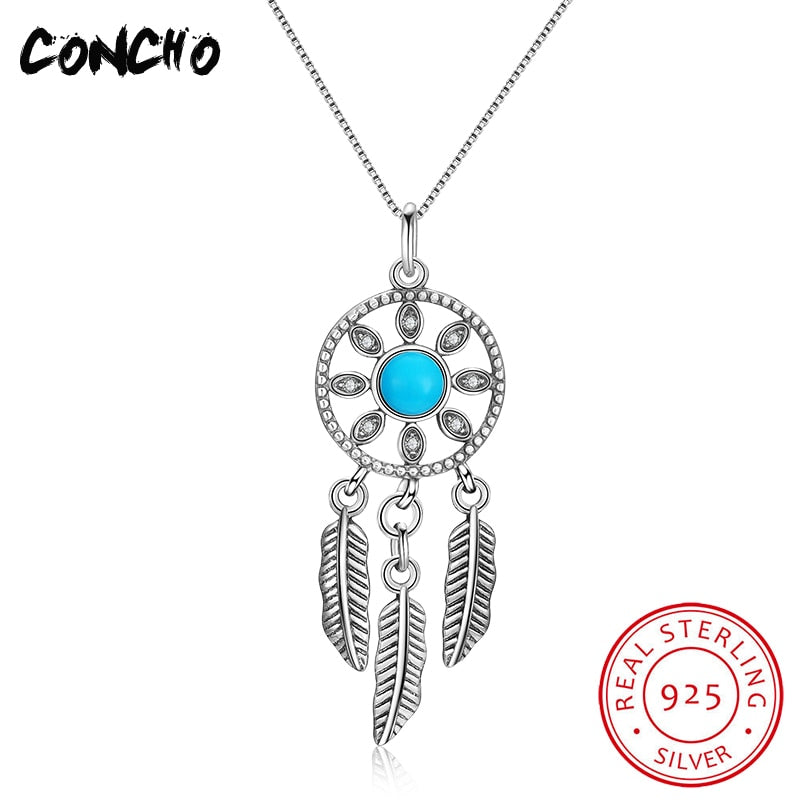 Collier Sautoir Long Pendant Necklaces Trendy Party Colares Jewelry 925 Sterling Turquoise Feather Necklace For Women