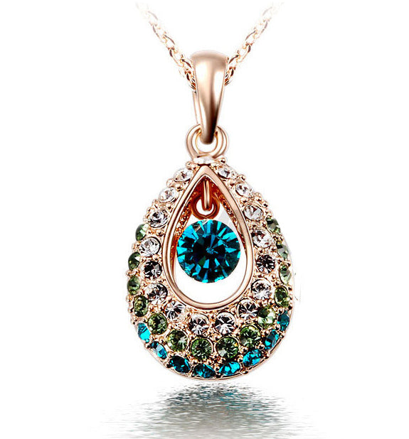 Colorful Crystal Rhinestone Necklace Cheap Jewelry Wholesale Hottest Gold/Silver Teardrop Crystal Necklace Jewelry