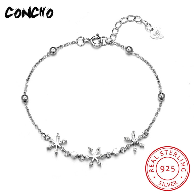 Jewelry 925 Sterling Silver Snowflake Zircon Bracelet For Women Elegant Holid Gifts 2018 Sale Hot Sale Id Bracelets