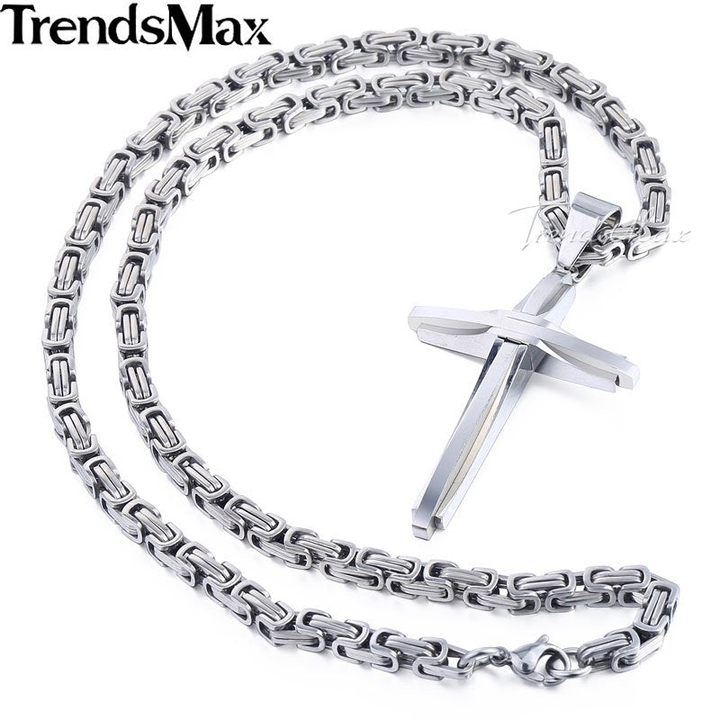 Cool Cross Pendant Necklace For Men Stainless Steel Byzantine Chain Necklaces Gold Silver Black 2018 Fashion Men Jewelry KPM82