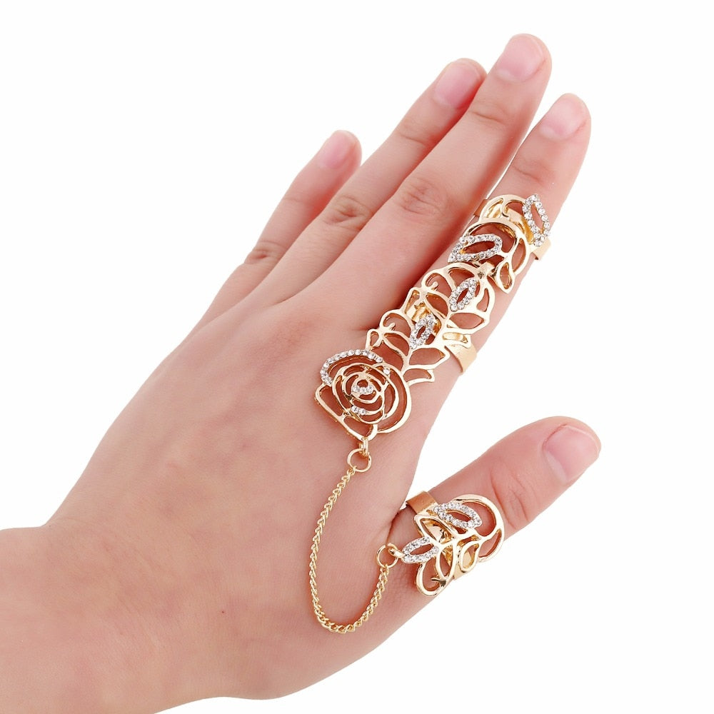 Creative Fashion Rhinestone Flower Full Finger Rings for Women Gold Chian Link Double Armor Ring Wholesale