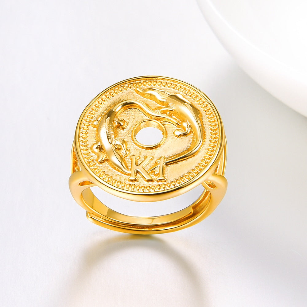Crocodile K1 Coin Ring Resizable for Women Gold Color PNG Jewelry Papua New Guinea Jewellery Gift