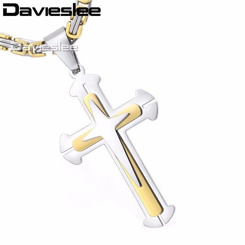 Cross Pendant Necklaces for Men Stainless Steel 3 Layer Knight Cross Mens Necklace Chain Silver Gold Black DDLKP179