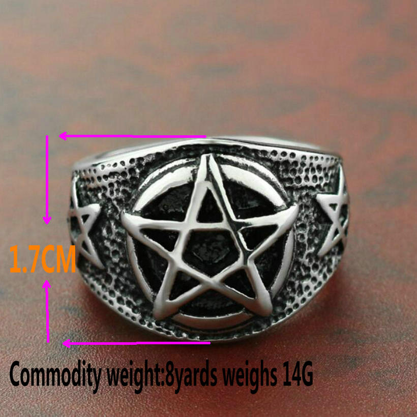 Cross-border new vintage titanium steel five-pointed star ring men's five-pointed star religious index finger ring