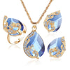 Crystal Peacock Jewelry Sets Bride Wedding Necklace Earring Ring Set Rhinestone Gold Color Water Drop Pendant Women Accessories