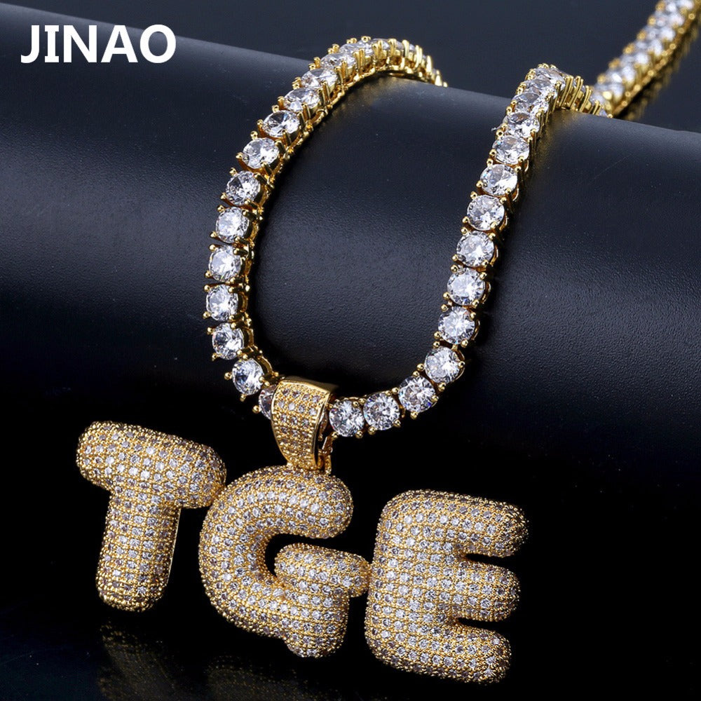 Custom Name Iced Out Bubble Letters Chain Pendants Necklaces Men's Charms Zircon Hop Jewelry With Gold Silver Tennis Chain