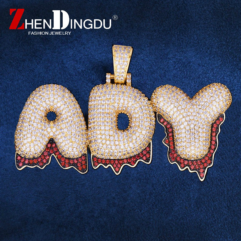 Custom Name Red Drip Bubble Letters Pendants Necklaces Men's Zircon Hop Jewelry With 4MM Gold Silver Tennis Chain For Gift