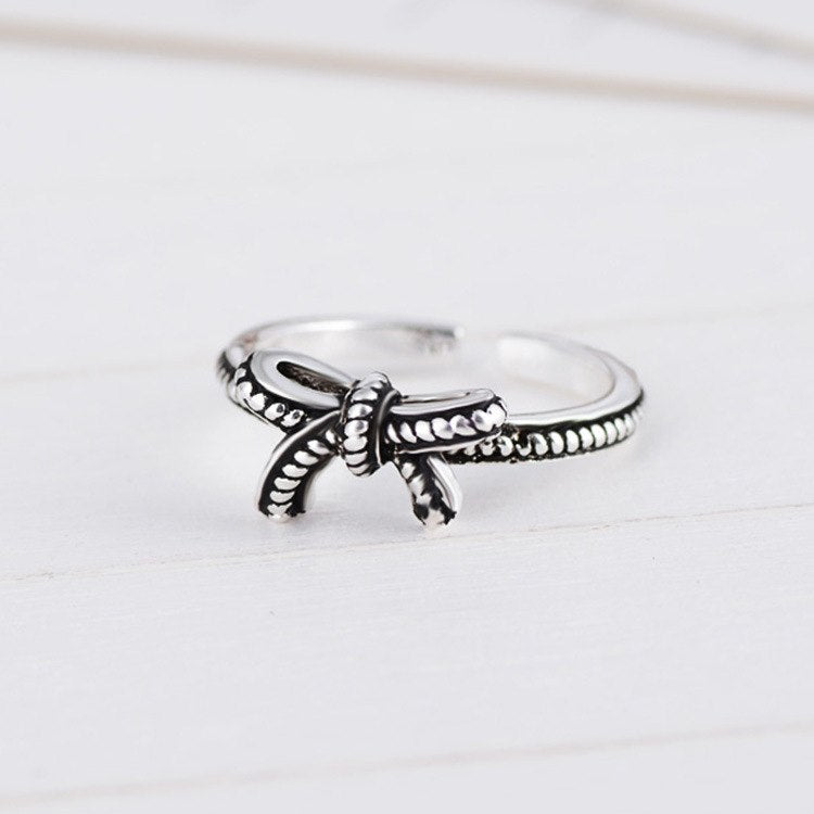 Cute Girls Finger Ring Bowknot Shape Open Silver Ring For Women Jewelry
