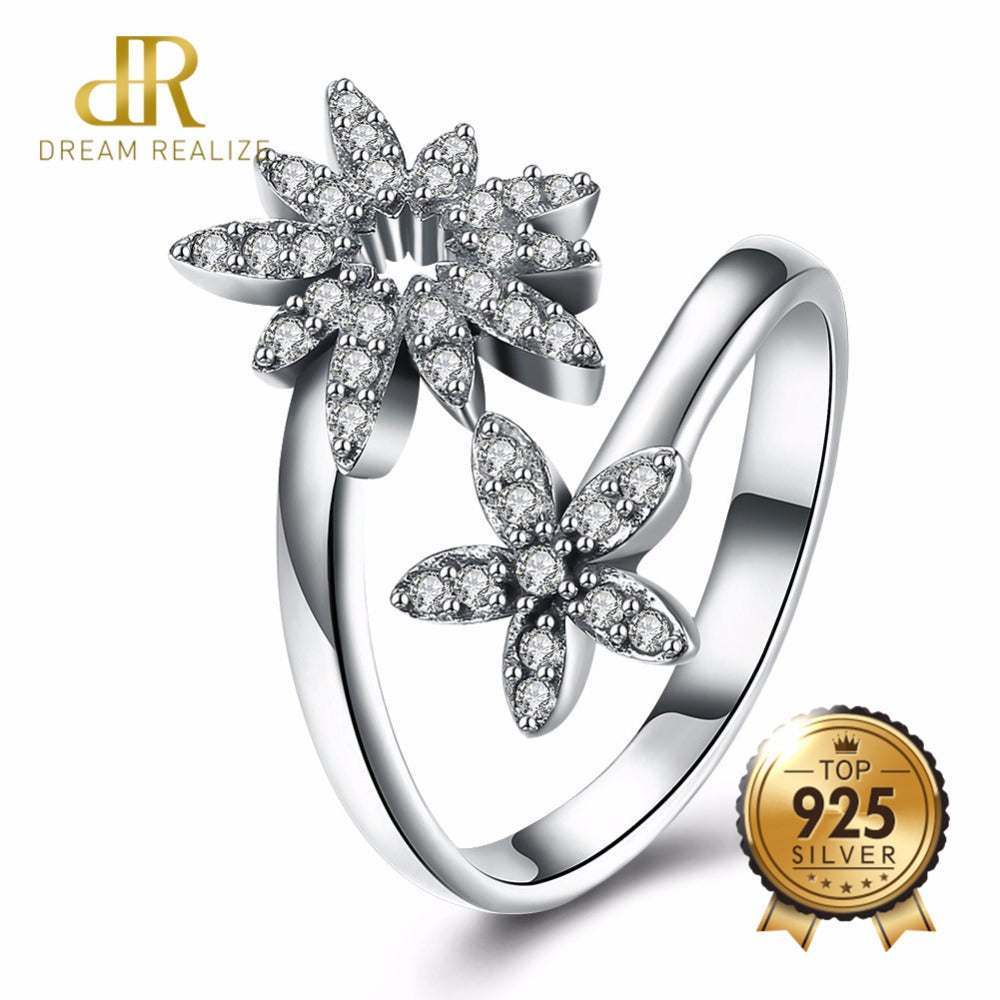 DR Real 925 Sterling Silver Ring Austria Zircon Flower Luxurious 100% Pure S925 Rings For Women Engagement Fine Jewelry Bijoux