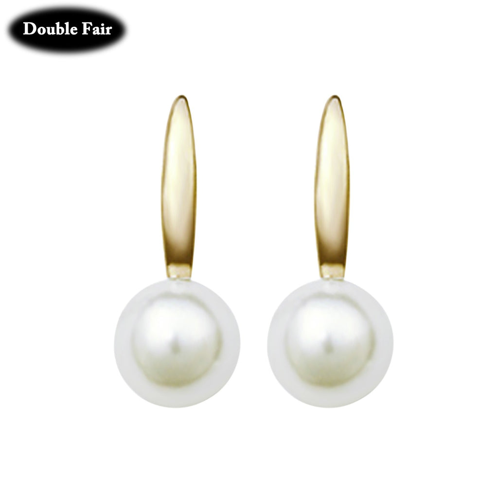 DWE407 Style Rose Gold/Silver Color Stud Earrings Fashion Brand Simulated Pearl Beads Jewelry For Women Brincos