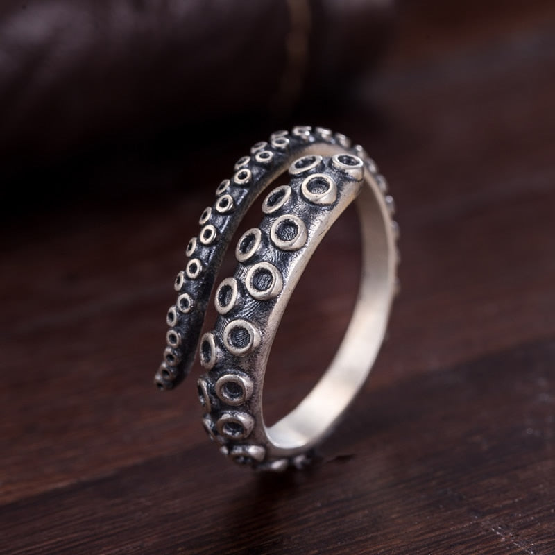 925 Sterling Silver Vintage Octopus Ring for Women Men Jewelry Opened Adjustable Size Free Shipping