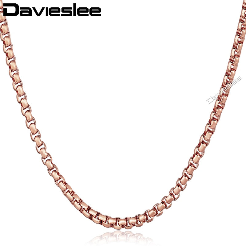 Silver Rose Gold Color Box Link Necklace For Women Men Stainless Steel Chain Necklace Men's Wholesale Jewlery DLKN385