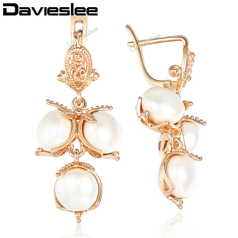 White Pearl Stud Earrings for Women 585 Rose Gold Filled Womens Earring Fashion Jewelry Gift for Women DGE122