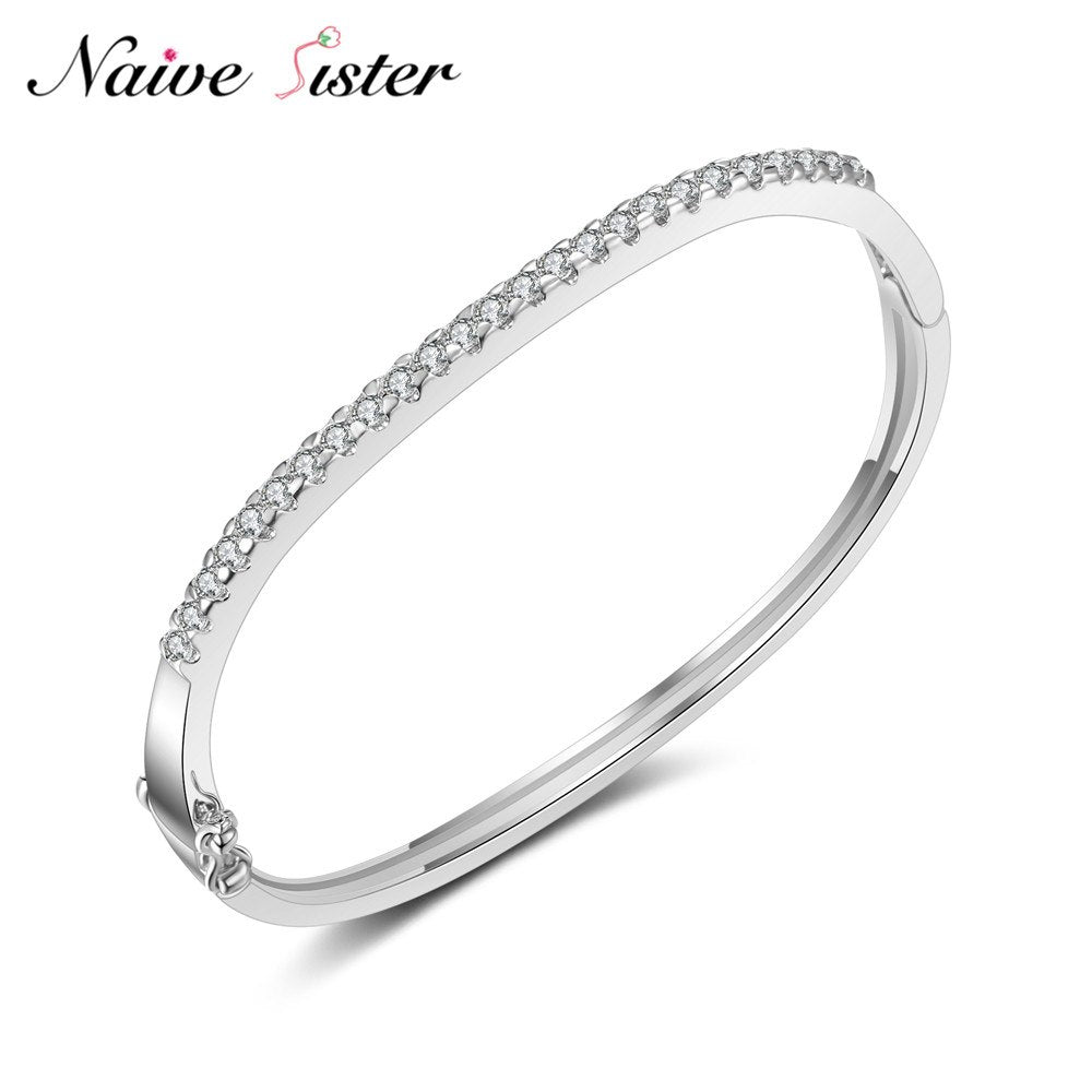 Design Simple Jewelry Cubic Zirconia Cuff Bangle Crystal Charms Bracelets & Bangles For Women Ladie's Love Gift Minimalist