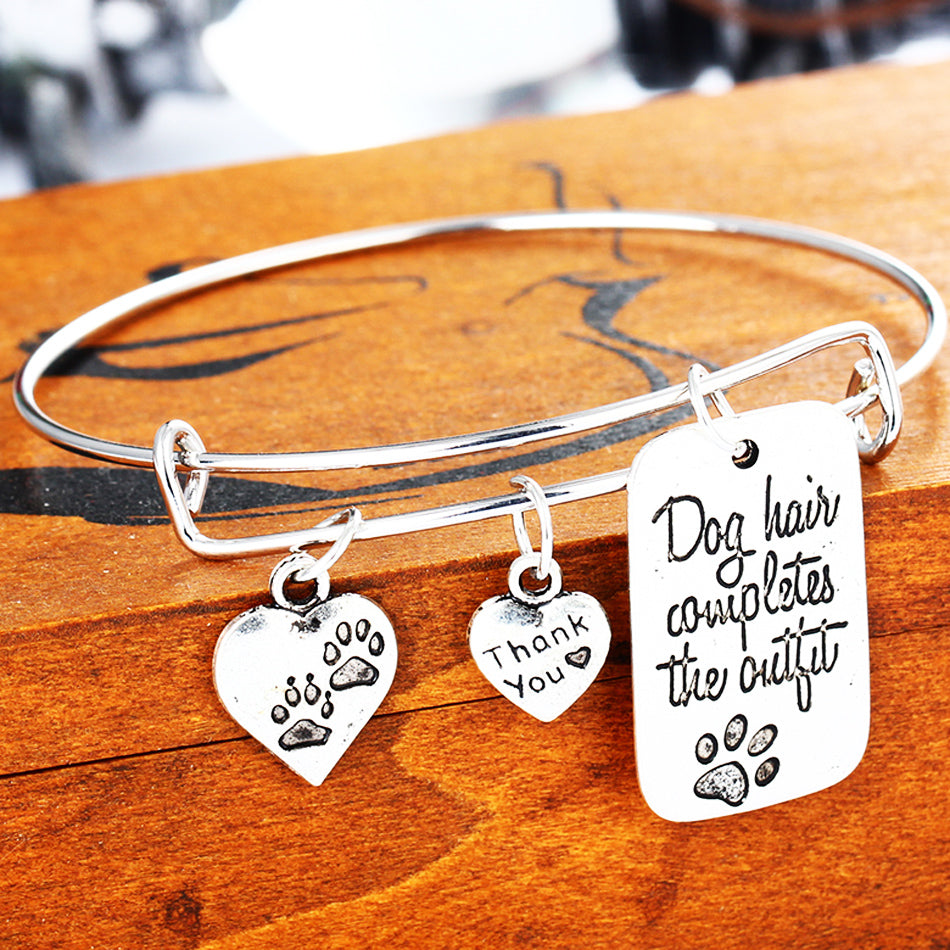 Dog Hair Completes The Outfit Love Heart Dog Tag Paws Prints Bangle Pet Charm Bracelet For Women Men Jewelry Gifts
