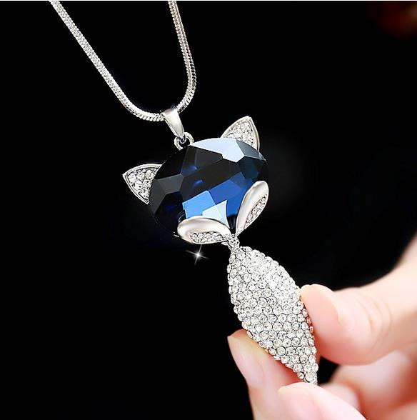 Women Cute little pendant contracted Crystal Sweater Chain Long Clothing Necklace