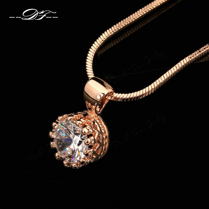 Brand Unique Crown Cubic Zirconia Necklaces &Pendants Silver/Rose Gold Color Chain Fashion Jewelry For Women DFN390