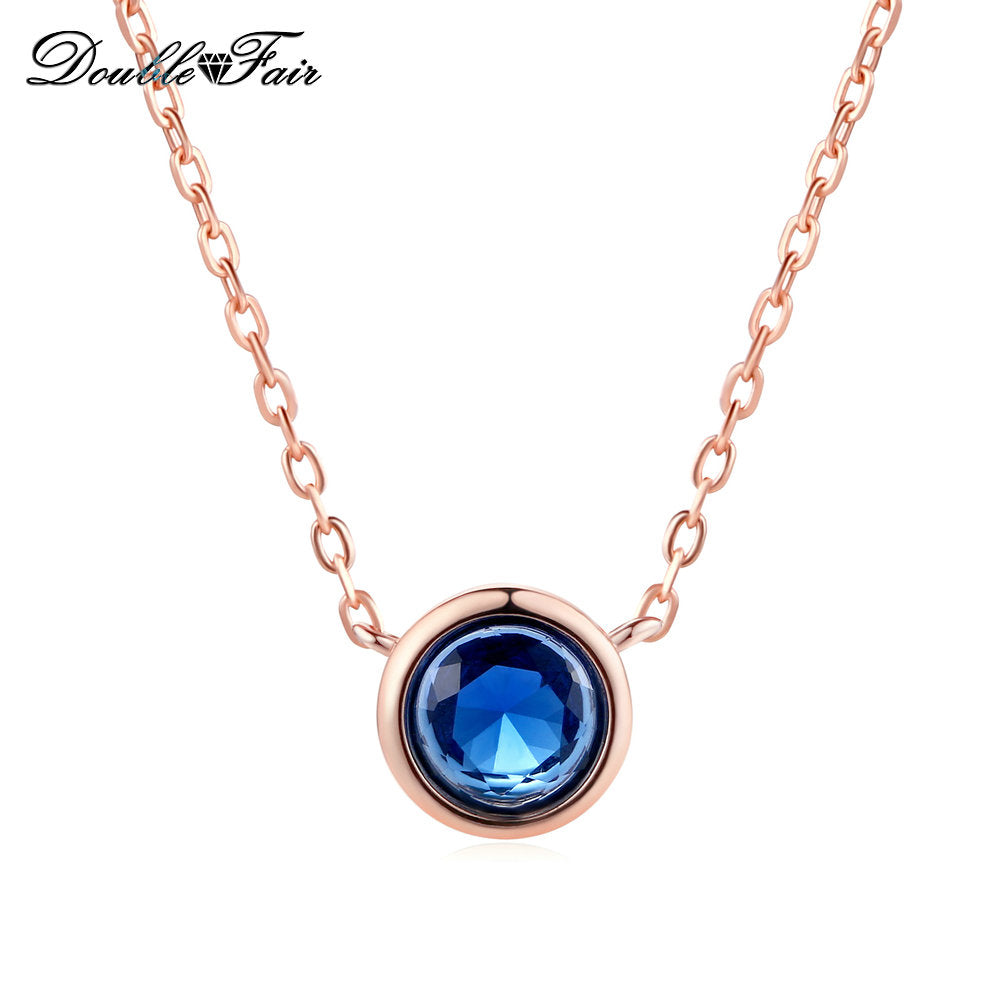 Simple Style Cubic Zirconia Necklaces &Pendants Rose Gold Color Fashion Jewelry For Women Chain Accessiories DFN454