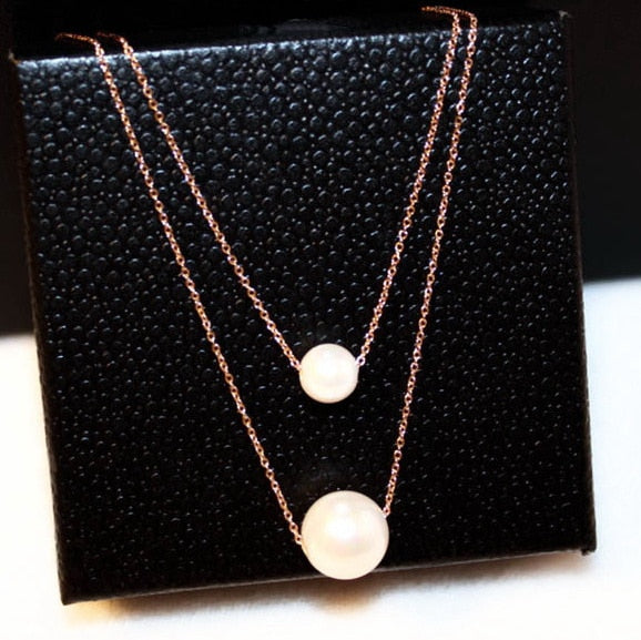 Double Layers Simulated Pearl Necklace Women Bijoux Simple Short Design Rose Gold-color Necklaces & Pendants Cute Gift