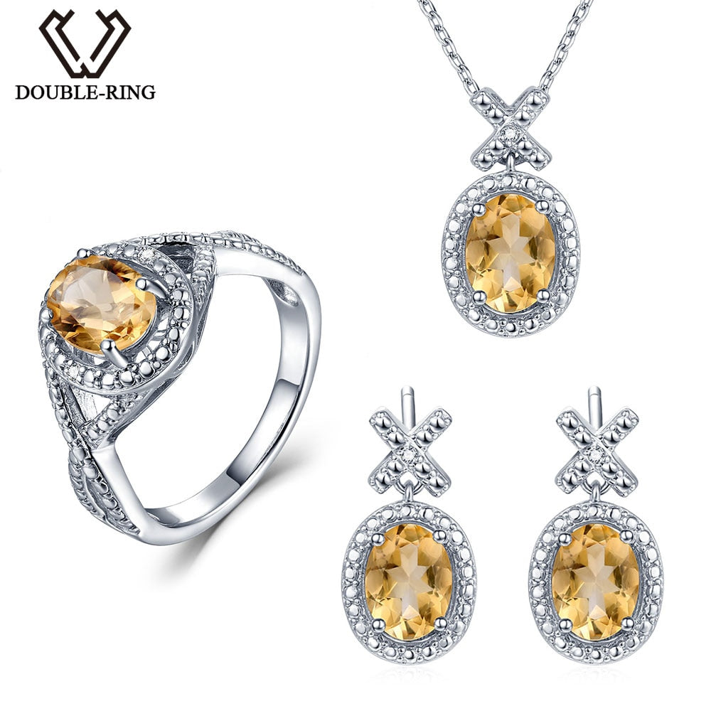 Double R Natural Diamond Bridal Jewelry Sets Women 4 1 Ct Real Citrine