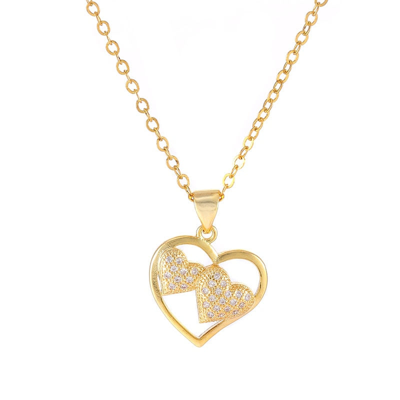 Dropshipping Necklace Micro Pave Zircon Three Heart Charm Pendant Necklace For Women Girl Handmade Gold/Silver Necklaces Jewelry