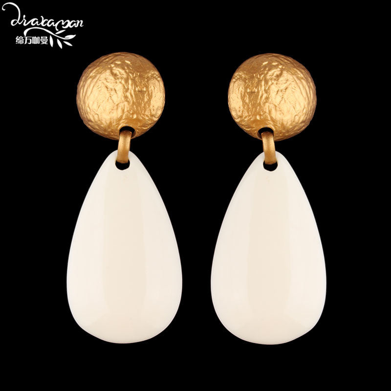 New 2020 ZA Stitching Earrings for Fashion Women Waterdrop Resin Drop Dangle Earrings Gold Color Maxi Statement Jewelry